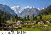 Летний пейзаж с заснеженными горами, Киргизия. Стоковое фото, фотограф Евгений Дубинчук / Фотобанк Лори