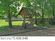 Купить «Деревянный колодец и скамейка в тени деревьев, Беларусь», фото № 5438648, снято 18 мая 2013 г. (c) Марина Шатерова / Фотобанк Лори