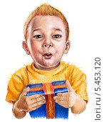 Мальчик с подарком на белом фоне. Стоковая иллюстрация, иллюстратор Марк Назаров / Фотобанк Лори
