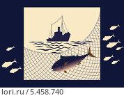 Лов рыбы в море. Стоковая иллюстрация, иллюстратор Валентина Шибеко / Фотобанк Лори