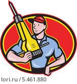 Купить «Рабочий с отбойным молотком», иллюстрация № 5461880 (c) Aloysius Patrimonio / Фотобанк Лори
