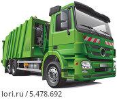 Купить «Зеленый мусоровоз на белом фоне», иллюстрация № 5478692 (c) Геннадий Поддубный / Фотобанк Лори