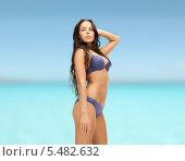 Купить «чувственная брюнетка позирует в сексуальном купальнике на фоне моря», фото № 5482632, снято 8 августа 2011 г. (c) Syda Productions / Фотобанк Лори