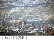 Зимний вид с вершины сопки на Южно-Сахалинск, Сахалин, Россия (2012 год). Стоковое фото, фотограф Daniil Nasonov / Фотобанк Лори
