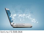 ноутбук с виртуальной картой мира. Стоковое фото, фотограф Syda Productions / Фотобанк Лори