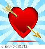 Купить «Сердце,пронзенное стрелой,открытка ко дню святого Валентина», иллюстрация № 5512712 (c) Галина Онищенко / Фотобанк Лори