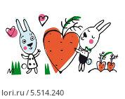 Заяц дарит морковку в виде сердца. Стоковая иллюстрация, иллюстратор Инна Багаева / Фотобанк Лори