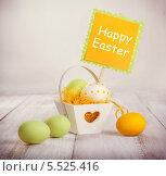 Красочные пасхальные яйца в декоративной корзинке. Стоковое фото, фотограф Елена Ефимова / Фотобанк Лори