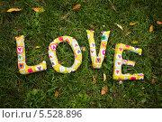 """Написанное на траве по-англйски подушками в форме букв англйской слово: """"Любовь"""" Стоковое фото, фотограф Елена Ефимова / Фотобанк Лори"""