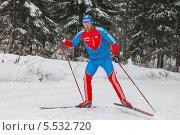 Купить «Член олимпийской сборной по лыжным гонкам Александр Бессмертных», фото № 5532720, снято 31 декабря 2013 г. (c) Максим Попурий / Фотобанк Лори