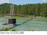 Подвесной мост над рекой Катунь. Алтай, Россия (2009 год). Стоковое фото, фотограф Opra / Фотобанк Лори