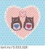 Влюбленные совы. Стоковая иллюстрация, иллюстратор Oxana  Ponomarenko / Фотобанк Лори