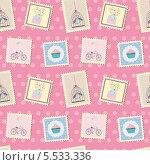 Бесшовный розовый фон с марками. Стоковая иллюстрация, иллюстратор Oxana  Ponomarenko / Фотобанк Лори