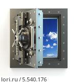 Купить «Свобода. Открытая дверь сейфа и небо за ней», иллюстрация № 5540176 (c) Maksym Yemelyanov / Фотобанк Лори
