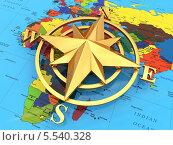 Купить «Компас на политической карте», иллюстрация № 5540328 (c) Maksym Yemelyanov / Фотобанк Лори
