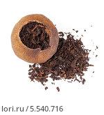 Купить «Китайский черный чай Пу Эр упакованный в сушёный мандарин, изолированно на белом фоне», фото № 5540716, снято 16 декабря 2013 г. (c) EugeneSergeev / Фотобанк Лори