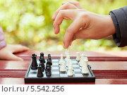 Купить «Игра в шахматы в парке. Доска с фигурами на скамейке и руки людей», фото № 5542256, снято 20 октября 2012 г. (c) Losevsky Pavel / Фотобанк Лори