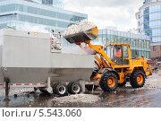 Купить «Погрузчик загружает снег в грузовик в городе в пасмурный день», фото № 5543060, снято 1 декабря 2012 г. (c) Losevsky Pavel / Фотобанк Лори