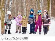Шесть детей в парке в зимний день. Стоковое фото, фотограф Losevsky Pavel / Фотобанк Лори