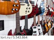 Купить «Электрогитары висят в музыкальном магазине на стене», фото № 5543864, снято 22 сентября 2012 г. (c) Losevsky Pavel / Фотобанк Лори