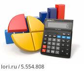 Купить «Бизнес-аналитика. Калькулятор и графики на белом фоне», иллюстрация № 5554808 (c) Maksym Yemelyanov / Фотобанк Лори