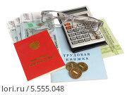 Купить «Пенсионное удостоверение, СНИЛС, трудовая книжка, российские деньги, калькулятор и очки на белом фоне», фото № 5555048, снято 12 января 2014 г. (c) Алексей Карпов / Фотобанк Лори