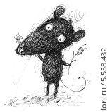 Мышь с цветочком. Стоковая иллюстрация, иллюстратор Инна Багаева / Фотобанк Лори