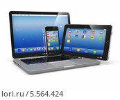 Электронные устройства. Смартфон, ноутбук и планшет. Стоковая иллюстрация, иллюстратор Maksym Yemelyanov / Фотобанк Лори