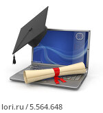 Купить «Дистанционное обучение, шапка магистра и диплом на ноутбуке», иллюстрация № 5564648 (c) Maksym Yemelyanov / Фотобанк Лори