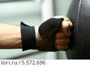 Купить «Рука боксера бьет по груше», фото № 5572696, снято 24 декабря 2007 г. (c) Иван Михайлов / Фотобанк Лори