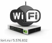 Беспроводной маршрутизатор и знак wifi. Стоковая иллюстрация, иллюстратор Maksym Yemelyanov / Фотобанк Лори