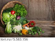 Купить «Свежие овощи на деревянном фоне», фото № 5583156, снято 2 февраля 2014 г. (c) Ирина Денисова / Фотобанк Лори