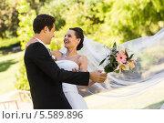 Купить «Cheerful newlywed couple dancing in park», фото № 5589896, снято 21 ноября 2013 г. (c) Wavebreak Media / Фотобанк Лори