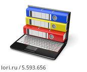 Папки в мониторе ноутбука на белом фоне. Стоковая иллюстрация, иллюстратор Maksym Yemelyanov / Фотобанк Лори