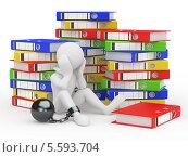 Купить «Белая фигурка человека с гирей на ноге сидит между папками для документов», иллюстрация № 5593704 (c) Maksym Yemelyanov / Фотобанк Лори