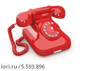 Купить «Красный телефон, изолированно на белом фоне», иллюстрация № 5593896 (c) Maksym Yemelyanov / Фотобанк Лори
