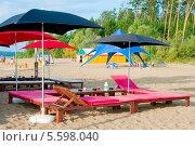 Зонты и шезлонги на пляже (2009 год). Стоковое фото, фотограф Opra / Фотобанк Лори