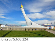 Купить «Олимпийский факел в Олимпийском парке Сочи», фото № 5603224, снято 12 февраля 2014 г. (c) Мартынов Антон / Фотобанк Лори