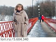 Купить «Красивая женщина средних лет стоит на длинном мостике», эксклюзивное фото № 5604340, снято 14 февраля 2014 г. (c) Игорь Низов / Фотобанк Лори