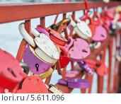 Купить «Навесные свадебные замки влюбленных висят на ограде моста», эксклюзивное фото № 5611096, снято 14 февраля 2014 г. (c) Игорь Низов / Фотобанк Лори