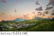 Купить «Вид на поселок Коктебель на закате. Крым, Украина», фото № 5613140, снято 13 ноября 2012 г. (c) Типляшина Евгения / Фотобанк Лори