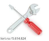 Отвертка и разводной ключ на белом фоне. Стоковая иллюстрация, иллюстратор Maksym Yemelyanov / Фотобанк Лори