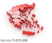 Купить «Трехмерная карта Греции», иллюстрация № 5615008 (c) Maksym Yemelyanov / Фотобанк Лори