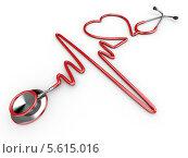 Купить «Стетоскоп в виде кардиограммы и силуэт сердца», иллюстрация № 5615016 (c) Maksym Yemelyanov / Фотобанк Лори