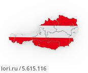 Купить «Трехмерная карта Австрии в цветах австрийского флага. 3d-изображение на белом фоне», иллюстрация № 5615116 (c) Maksym Yemelyanov / Фотобанк Лори