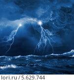 Купить «Ночной шторм и молнии, бьющие в море», фото № 5629744, снято 21 октября 2018 г. (c) Sergey Nivens / Фотобанк Лори