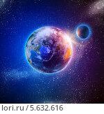 Купить «Земля и Луна. Вид из космоса», фото № 5632616, снято 16 января 2019 г. (c) Sergey Nivens / Фотобанк Лори