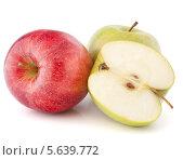 Купить «Красное и зеленые яблоки на белом фоне», фото № 5639772, снято 13 марта 2012 г. (c) Natalja Stotika / Фотобанк Лори