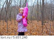 Купить «Девочка с большим надувным розовым телефоном в руках стоит в осеннем парке», фото № 5651240, снято 4 ноября 2011 г. (c) Losevsky Pavel / Фотобанк Лори