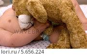 Купить «Baby lying in crib sucking soother holding teddy», видеоролик № 5656224, снято 23 августа 2019 г. (c) Wavebreak Media / Фотобанк Лори